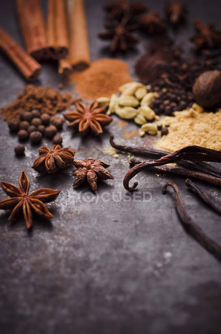 Close up of Ingredients of gingerbread spice — Stock Photo
