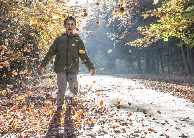 Хлопчик грає з листя в осінній ліс — стокове фото