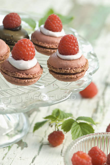 Малини macarons і шоколад macarons гарнір з малина на стенді торт — стокове фото