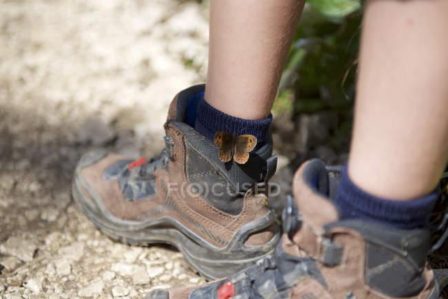 Borboleta Meadow Brown em sapatos de caminhada do menino — Fotografia de Stock