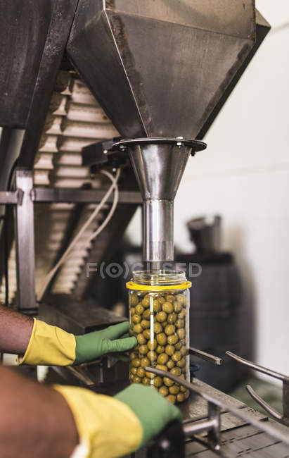 Worker in food processing plant at olive filling machine — Stock Photo