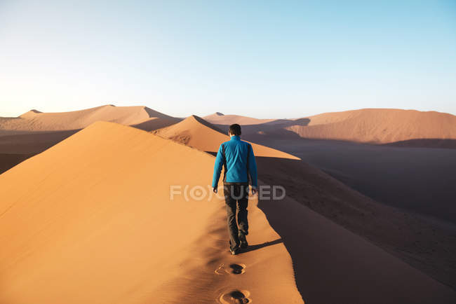 Namibia, Namib Desert, Sossusvlei, Man walking on the top of famous Dune 45 at sunrise — Stock Photo