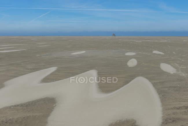 Germany, North Frisia, Westerhever, North Sea Coast, low tide, refuge beacon on sandbank — Stock Photo