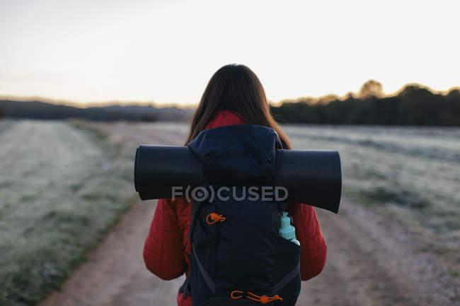 Vista de pedestrianismo feminino traseira no caminho do campo — Fotografia de Stock