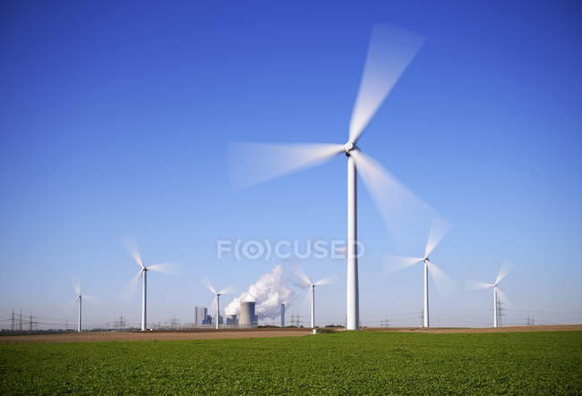 View of wind wheels and mining power plant at Neurath, North Rhine-Westphalia, Germany — Stock Photo