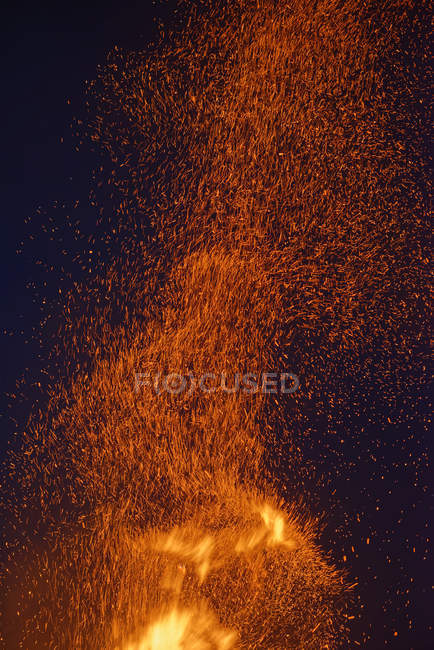 Germany, Bavaria, Midsummer bonfire at night — Stock Photo