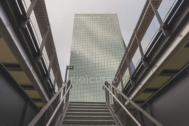 Germany, Hesse, Frankfurt, Building of European Central Bank with stairs of a view terrace in the foreground — Stock Photo