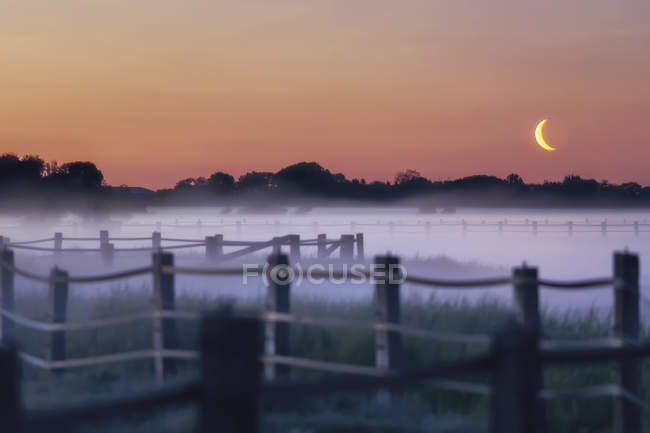 Germany, North Frisia, Eiderstedt, moon rise and ground fog over paddock — Stock Photo