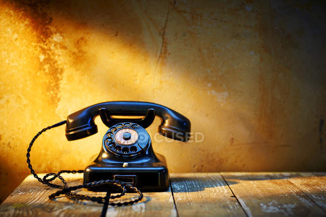 Black old bakelite telephone — Stock Photo