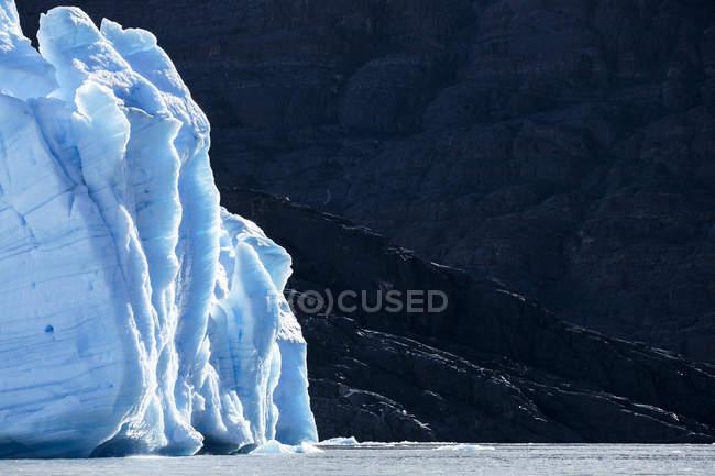 América do Sul, Chile, região de Magallanes y la Antartica Chilena, Cordillera del Paine, glaciar Grey e Lago Grey, o Parque Nacional Torres del Paine — Fotografia de Stock