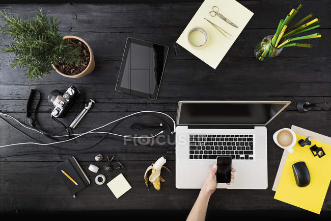 Man's workplace at home office — Stock Photo