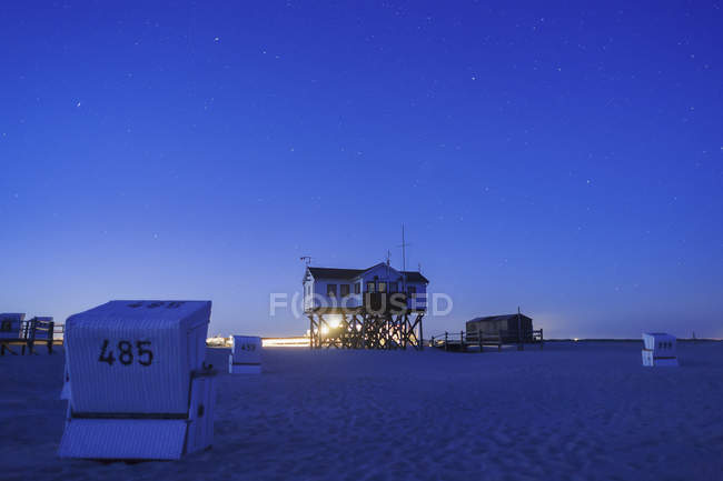 Germany, North Frisia, St Peter-Ording at blue hour — Stock Photo