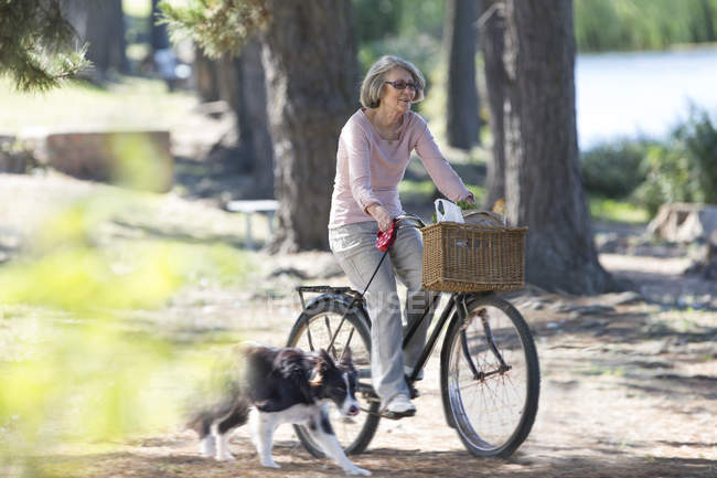 Senior woman riding on bicycle — Stock Photo