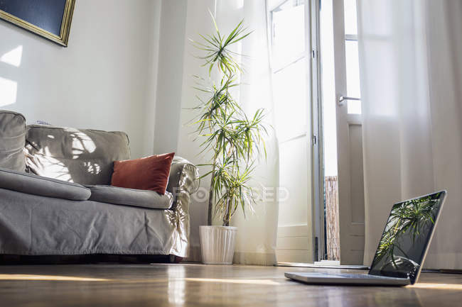 Laptop standing on wooden floor of a living room — Stock Photo