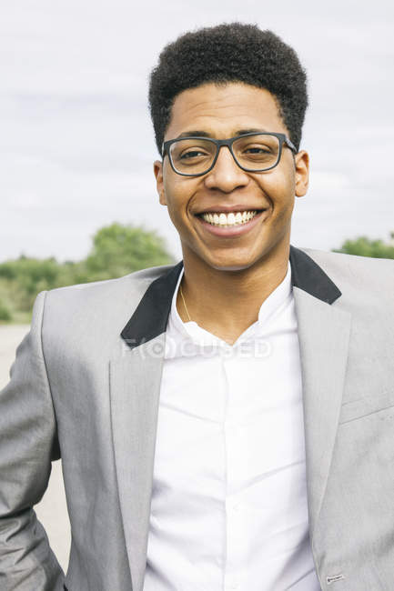 Young black man wearing glasses, portrait — Stock Photo