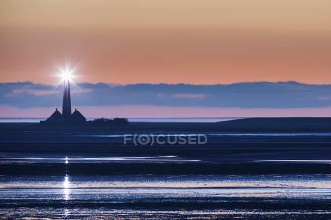 Westerhever, lighthouse at dusk — Stock Photo