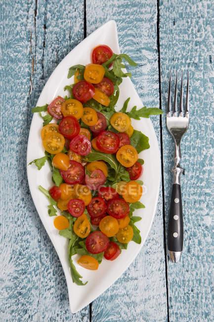 Leaf-shaped plate of tomato salad garnished on rocket — Stock Photo