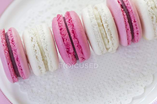 Row of cocos and blackberry macarons — Stock Photo