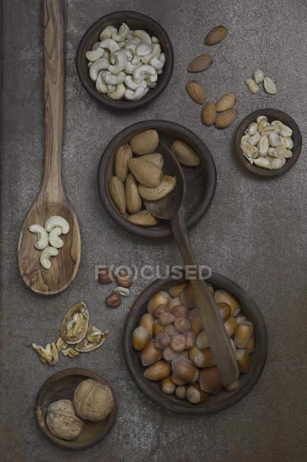 Вид сверху различных орехов в чашки и ложки — стоковое фото