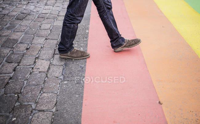 Hombre caminando en la bandera del arco iris pintado en la calle - foto de stock