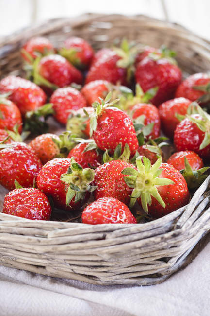 Fresh picked strawberries in basket — Stock Photo