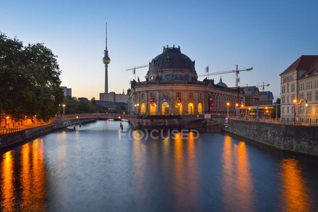Germany, Berlin, Bode Museum and TV Tower at dawn — Stock Photo