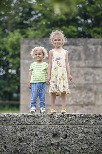 Retrato de hermanita y hermano de pie uno al lado del otro en una pared tomados de la mano - foto de stock