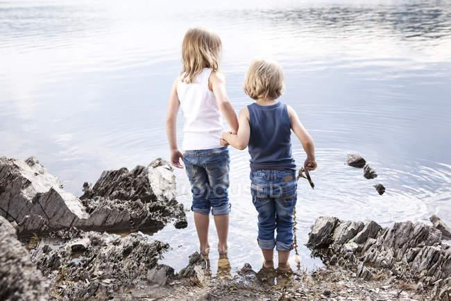 Ragazzo e ragazza in piedi mano nella mano sulla riva del lago — Foto stock