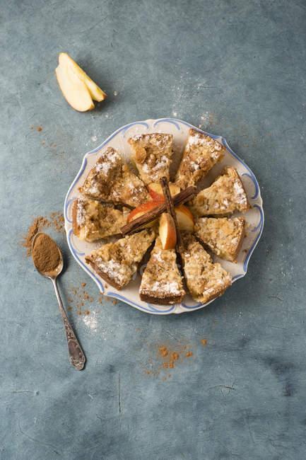 Яблочный торт крошится и корицей — стоковое фото