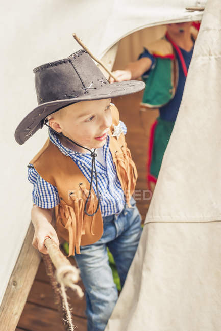 Germany, Saxony, Indians and cowboy party, — Stock Photo