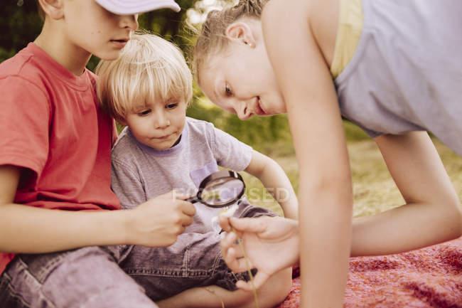 Трое детей на одеяле, смотрящих через лупу — стоковое фото