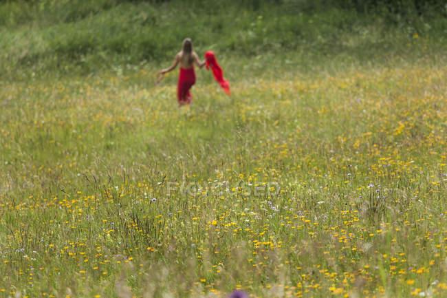 Campo Dei Fiori Con La Donna In Vestito Rosso Sullo Sfondo Tempo