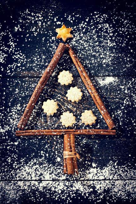Palitos de canela y galletas en forma de un árbol de Navidad - foto de stock