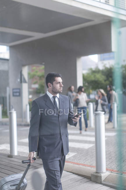 Businessman with suitcase and smartphone — Stock Photo