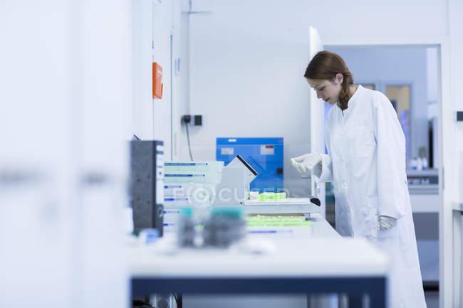 Assistante de laboratoire travaillant en laboratoire clinique — Photo de stock