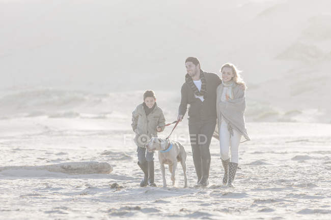 Happy family walking on the beach with dog at beautiful nature — Stock Photo