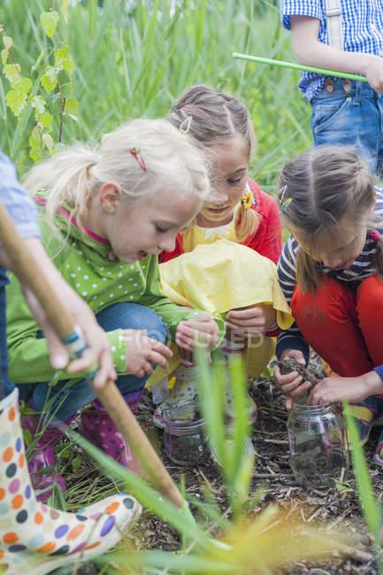 Улыбающиеся девушки собирают червей в природе — стоковое фото