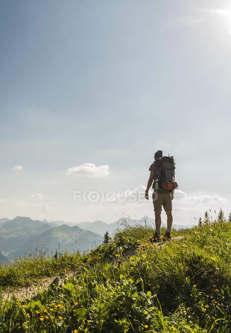 Austria, Tirolo, Tannheimer Tal, giovane in piedi sul sentiero di montagna guardando in vista — Foto stock