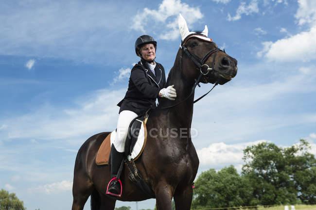 Женщина всадница на коне в поле — стоковое фото
