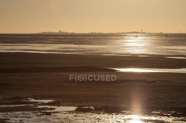Coucher de soleil au-dessus de la mer de Wadden avec l'île Neuwerk en arrière-plan, Cuxhaven, Basse-Saxe, Allemagne — Photo de stock