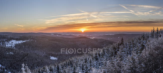 Scenie view of winter landscape at sunset, Harz National Park, Saxony-Anhalt, Germany — Stock Photo