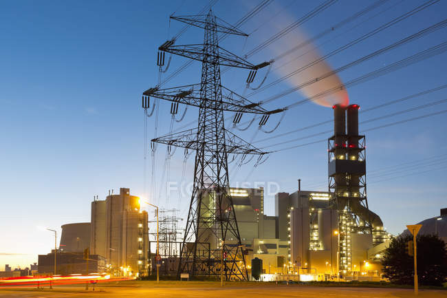 Observing view of coal power station, Hamburg, Germany — Stock Photo