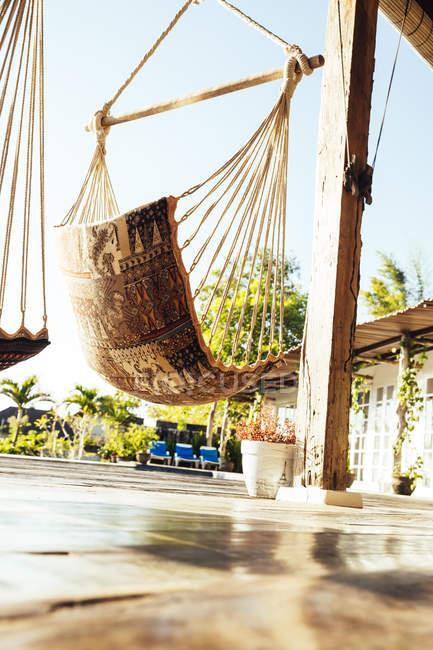 Redes em terraço de uma casa de férias — Fotografia de Stock