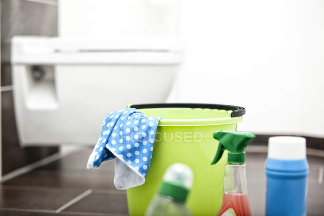 Cleansing agents in bathroom — Stock Photo