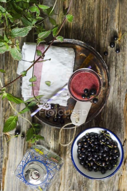 Стакан пюре черной смородины — стоковое фото