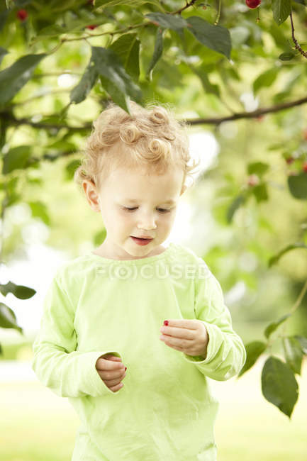 Little girl holding cherry in her hand — Stock Photo