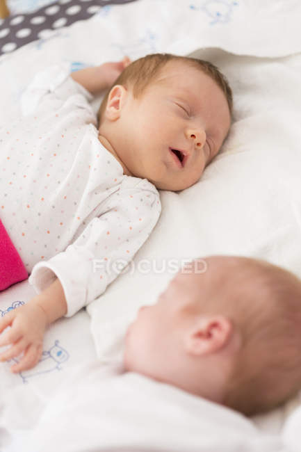Close up of cute newborn twins sleeping stock photo