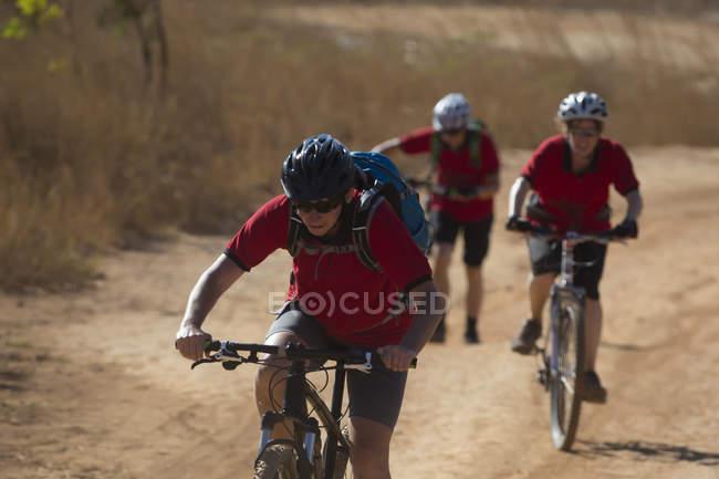 Целенаправленные велосипедисты в шлемах на природе — стоковое фото