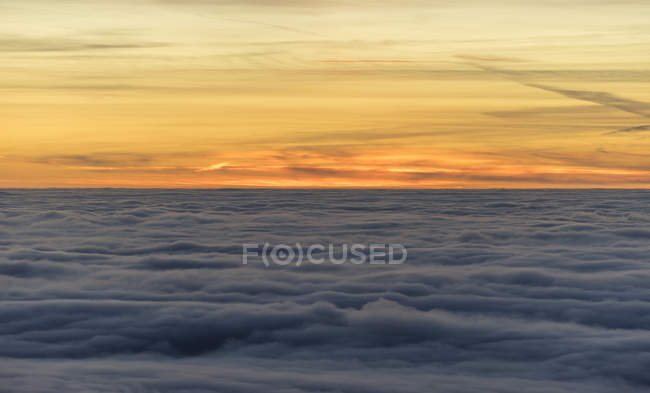 Scenic view of atmospheric inversion in the evening, Harz National Park, Saxony-Anhalt, Germany — Stock Photo