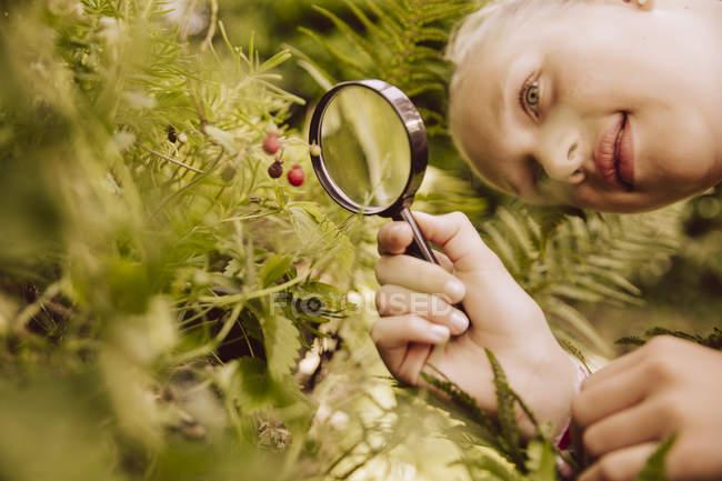 Chica mirando a través de lupa en pequeñas fresas - foto de stock